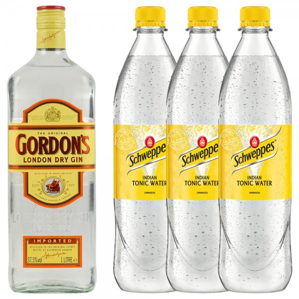 Gordon´s Dry Gin 1,0l + 3x Schweppes Indian Tonic Water 1,0l
