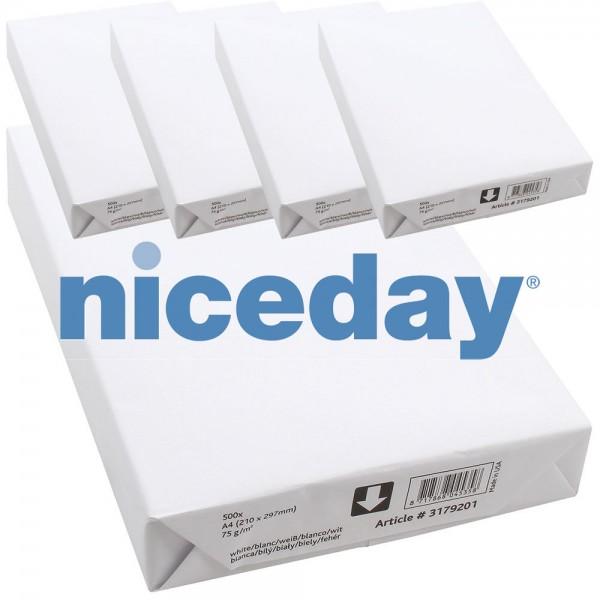 Niceday Kopierpapier 5 Packs à 500 Blatt 75g/qm DIN A4