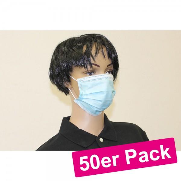 50er Pack Mundschutz Gesichtsmasken 3-lagig