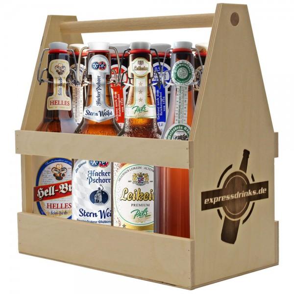 Biere in Bügelflasche im Holzträger 8x wahllos gemischt